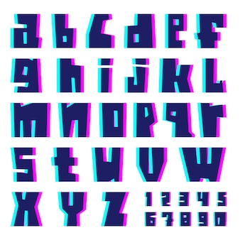 Glitch alphabet. letters and numbers with effect.
