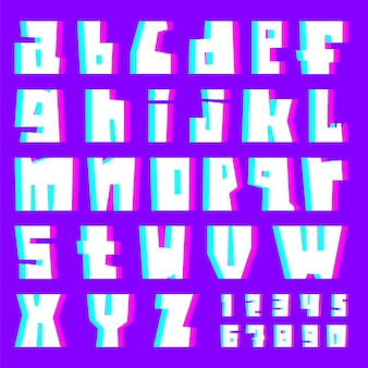 Glitch alphabet, letters and numbers