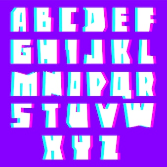 Glitch alphabet letters with effec