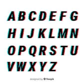 Glitch alphabet template
