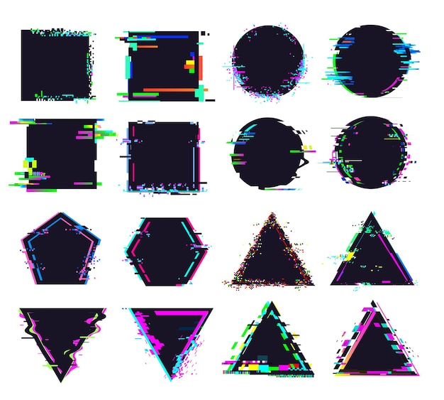 Glitch black frames of different shape. distorted signal, square and round, triangle and polygonal figures. destroyed geometric shapes set with noise for logo isolated vector illustration Premium Vector