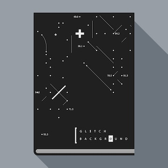 Glitch book poster design template with simple geometric design elements