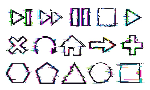 Glitch buttons. music and game control icons with distorted effect. play, stop or pause and rewind, refresh symbols with digital noise. geometric shapes frames or borders vector illustration