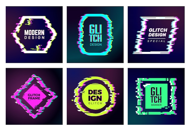 Glitch cards. abstract distorshion frames damaged square glitched shapes geometric trendy vector forms identity templates. color glitch frame, rhombus and round distorshion illustration