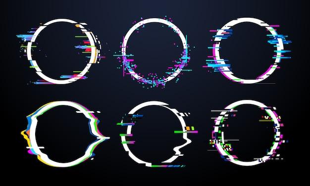 グリッチサークルフレーム。テレビ歪んだ信号カオス、グリッチリングライト効果歪みフレームと欠陥グリッチバグ円ベクトルセット