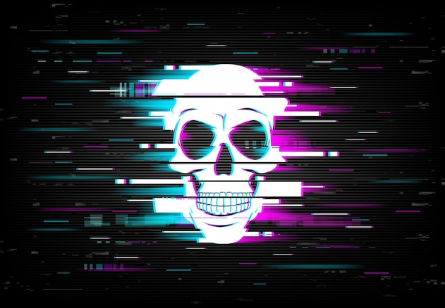 Glitch on computer screen with smiling human skull