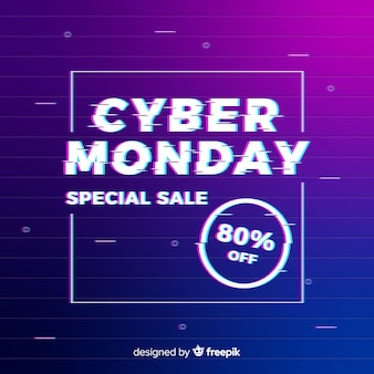 Glitch cyber monday background with gradient