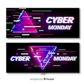 Glitch cyber monday banners template