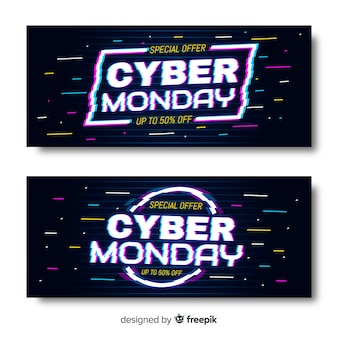 Glitch cyber monday banners