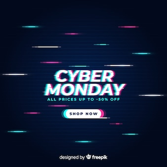Glitch cyber monday design for advertising