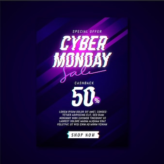 Glitch cyber monday flyer template