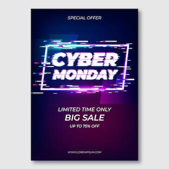 Modello di volantino di glitch cyber lunedì