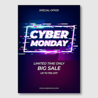 Glitch cyber monday flyer template
