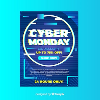 Glitch cyber monday poster template