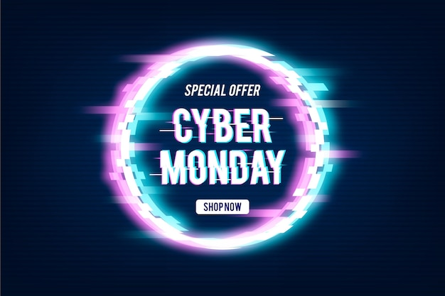 Glitch cyber monday promo text