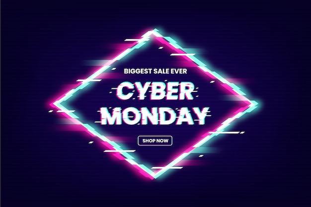 Glitch cyber monday sale promo text