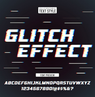 Glitch digital noise distortion modern cool effect text font collection typeface alphabet letters, numbers and symbols