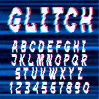 Glitch distorted font letters and numbers