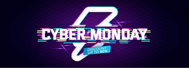 Glitch effect cyber monday banner template