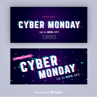 Glitch effect cyber monday banners template