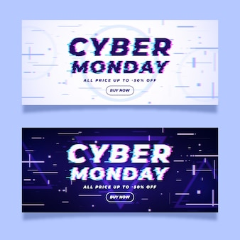 Glitch effect cyber monday banners
