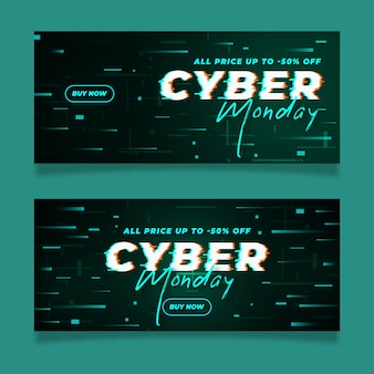 Glitch effect cyber monday banners Free Vector