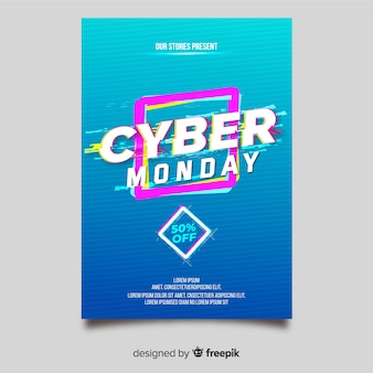 Glitch effect cyber monday flyer template