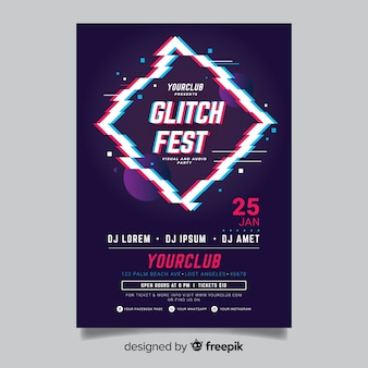 Glitch effect electronic music flyer template