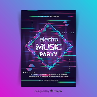 Glitch effect electronic music poster template