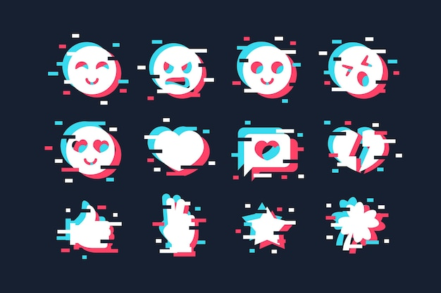 Концепция коллекции эмодзи glitch