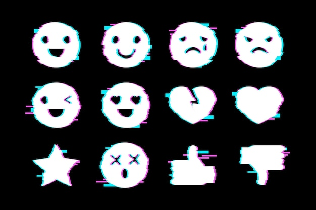 Glitch emojis collections