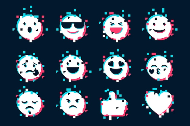 Glitch emojis icons collection