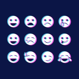 Glitch emojis icons pack