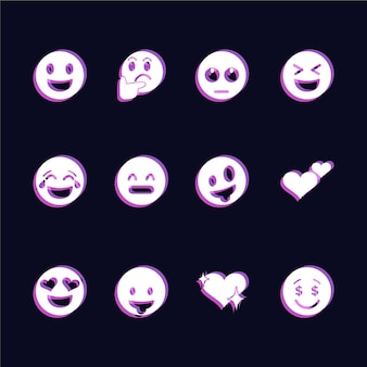 Set di icone emoji glitch