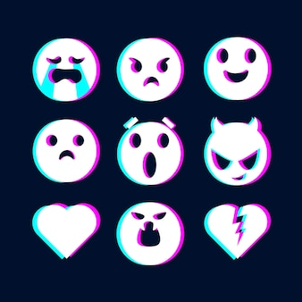Glitch emojis illustrations collection