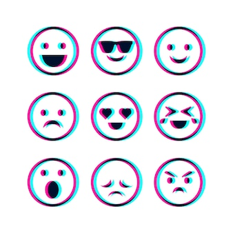 Glitch emojis illustrations set