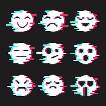 Glitch emojis set