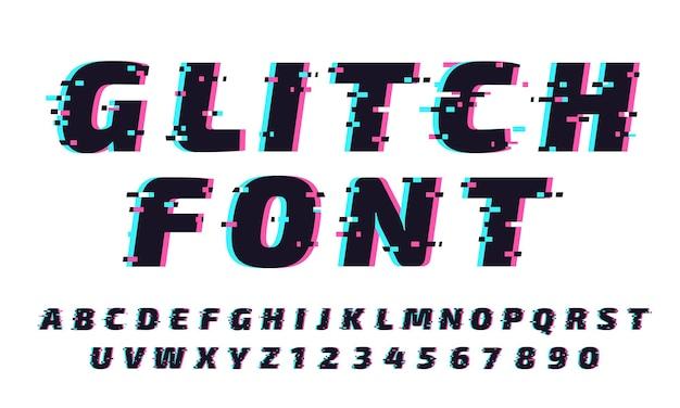 글리치 글꼴. 트렌디하고 미래 지향적 인 서체 스타일의 문자와 숫자