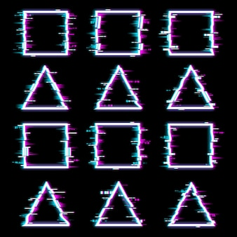 Glitch frames distorted neon glowing pixelized borders of triangle and square shapes