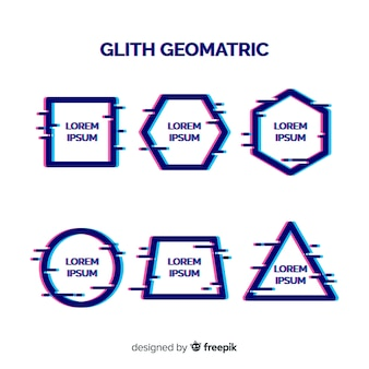 Glitch geometric shape banner