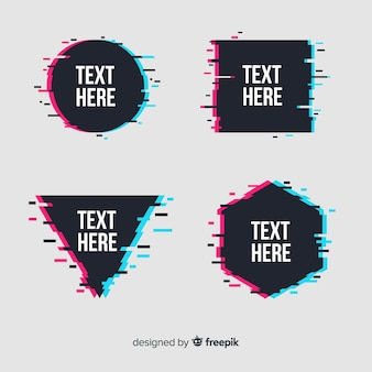 Glitch geometric shape banners