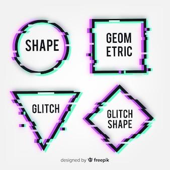 Glitch geometric shape banners