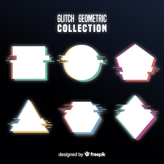 Glitch geometric shape collection