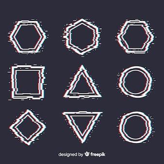 Glitch geometric shapes set