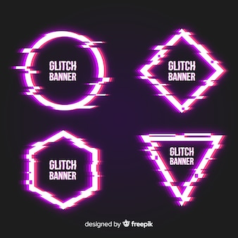 Glitch geometric shapes set