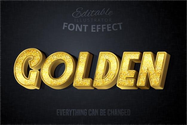 Эффект золотого текста glitch, блестящий золотой стиль алфавита