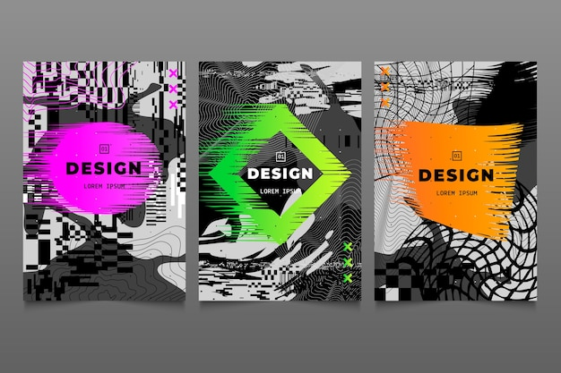 Glitch graphic designer cover with colours collection