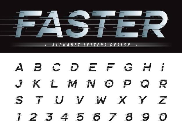 Вектор glitch современный алфавит буквы и цифры, grunge линейные стилизованные округлые шрифты
