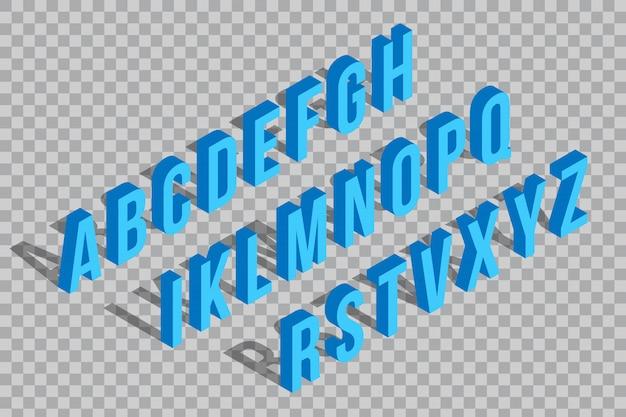 Glitch isometric font, alphabet, typeface element.
