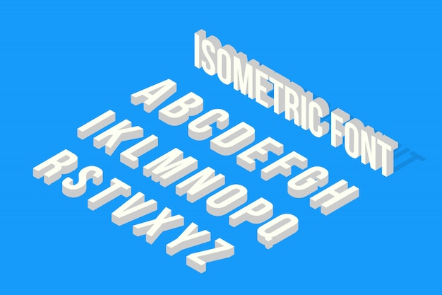 Glitch isometric font, alphabet